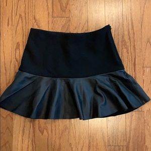 Zara Mini Skirt with leather ruffle Size XS